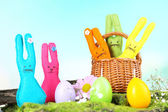 Composition with funny handmade Easter rabbits — Foto Stock