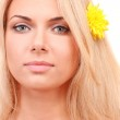 Beautiful young woman with a bright flower in her hair on white background close-up — Stock Photo