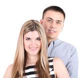 Couple d'amoureux isolé sur blanc — Photo