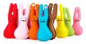 Conigli di pasqua a mano divertente, isolati su bianco — Stok fotoğraf