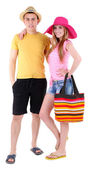 Young couple tourist isolated on white — Stock Photo