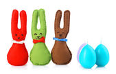 Funny handmade Easter rabbits, isolated on white — Stock Photo