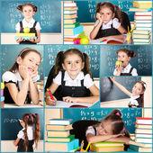Collage di Close-up di scuola ragazza — Foto Stock