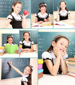 Collage of school girl close-up — Stock Photo