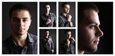 Snapshot of model. Handsome man on black background — Stock Photo