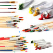 Collage of paint brushes with acrylic paint in tubes isolated on white — Stock Photo