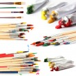 Collage of paint brushes with acrylic paint in tubes isolated on white — Stock Photo #44737655
