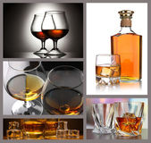 Collage of brandy glasses with ice — Stock Photo