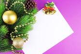 Christmas card on purple background — Stock Photo