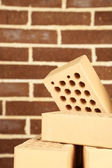 New bricks on brick wall background — Stock Photo