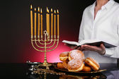 Festive ceremony on Hanukkah on dark background — Stock Photo