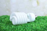 Energy saving light bulb on green grass, on light background — Stock Photo