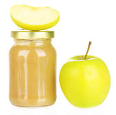 Jar with apple baby food isolated on white — Stock Photo