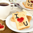 Delicious toast with jam and cup of tea on table close-up — Stock Photo #44823197