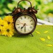 Digital alarm clock on table, on nature background — Stock Photo #44828401