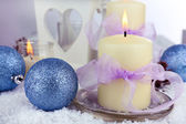 Velas de natal close-up — Fotografia Stock