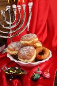 Festive composition for Hanukkah on cloth close-up — Stok fotoğraf