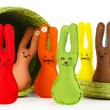 Funny handmade Easter rabbits in basket, isolated on white — Stock Photo
