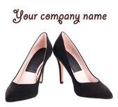 Beautiful black female shoes, isolated on white — Stock Photo