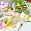 Beautiful holiday Easter table setting, on bright background — Stock Photo #44970645
