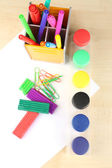 Composition of various creative tools  on color wooden background — ストック写真