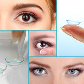 Contact lens collage — Stock Photo