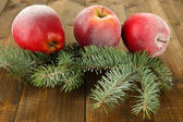 Red frosted apples with fir branch on wooden background — Stock Photo