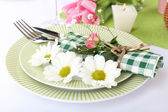 Table setting with spring flowers close up — Foto de Stock