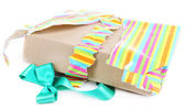 Unwrapped and opened gift box isolated on white — Stock Photo