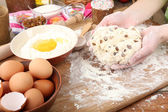 Easter cake preparing in kitchen — Stock Photo