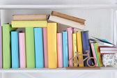 Books on shelf close-up — Stock Photo