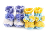 Crocheted booties for baby, isolated on white — Stock Photo
