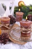 Candele natalizie da vicino — Foto Stock