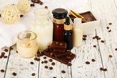 Vackra choklad spa inställningen på träbord närbild — Stockfoto