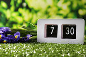 Digital alarm clock on green grass, on nature background — Stock Photo