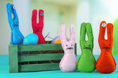 Composition with funny handmade Easter rabbits  — Stock Photo