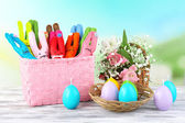Composition with funny handmade Easter rabbits — Stockfoto