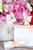 Beautiful wedding flowers in crate on table close up — Stock Photo