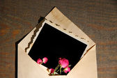 Old envelope with blank photo paper and beautiful pink dried roses on wooden background — Stock Photo