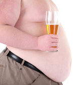 Fat man holding glass of beer, isolated on white — Stock Photo