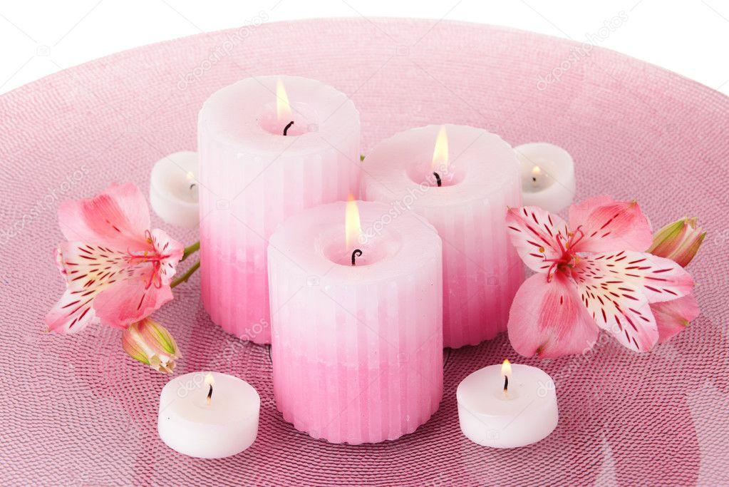 Belles Bougies Avec Fleurs En Gros Plan Photographie