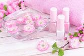 Beautiful spa setting on table close-up — Stock Photo