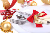 Beautiful Christmas setting close up — Stock Photo