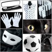 Collage of photos in white and black colors — Stock Photo