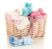 Basket with socks isolated on white — Stock Photo