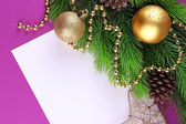 Christmas card on purple background — Foto Stock