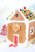 Gingerbread house on light background — Stock Photo