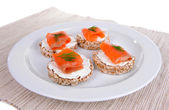 Delicious canapes on plate close-up — Stock Photo