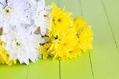 Flores de crisântemo linda em close-up de madeira mesa — Foto Stock