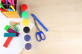 Composition of various creative tools  on color wooden background — Stock fotografie